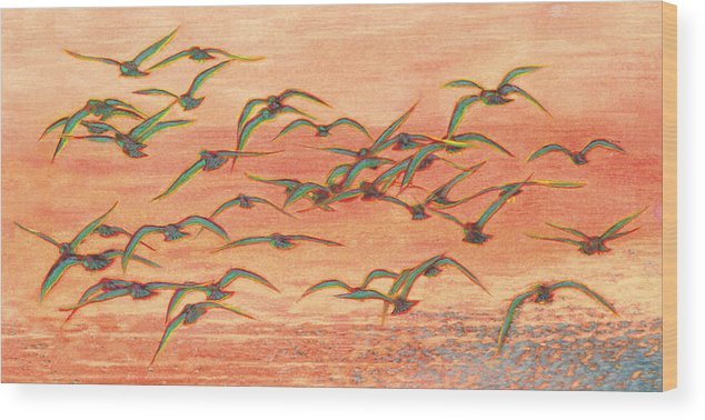 Bird Wood Print featuring the painting Ethnical Birds Viii by Tomasz Cieplinski