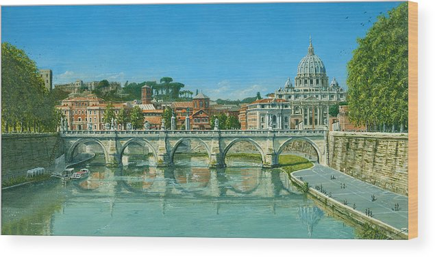 Landscape Wood Print featuring the painting Il Fiumi Tevere Roma by Richard Harpum