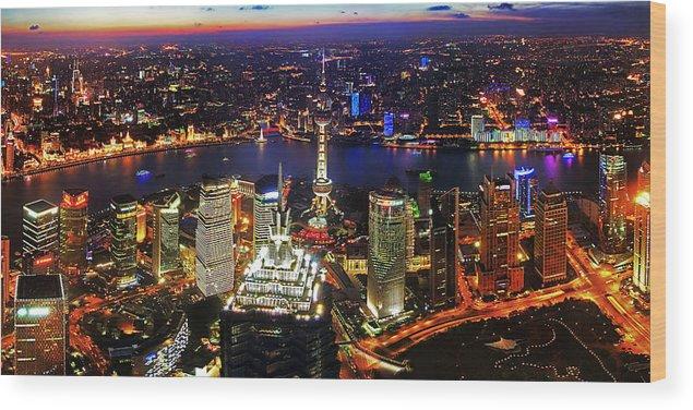 Shanghai Wood Print featuring the photograph Shanghai Colour Blast Panorama by Miho Birimisa