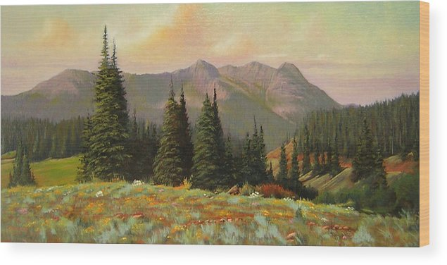 Landscape Wood Print featuring the painting 060815-1224 Late Summer Flowers by Kenneth Shanika
