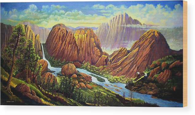 Mountains Waterfalls Rocks Southwest Landscapes Eagles Wood Print featuring the painting Castle Rock Valley by Donn Kay