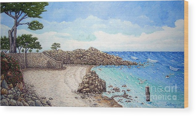 Impressionism Wood Print featuring the painting Pacific Grove by Santiago Chavez