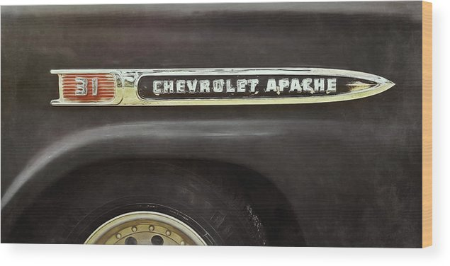 Classic Car Wood Print featuring the photograph 1959 Chevy Apache 1959 by Scott Norris