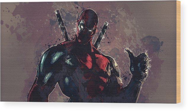 Batman Wood Print featuring the digital art Deadpool by Anna J Davis