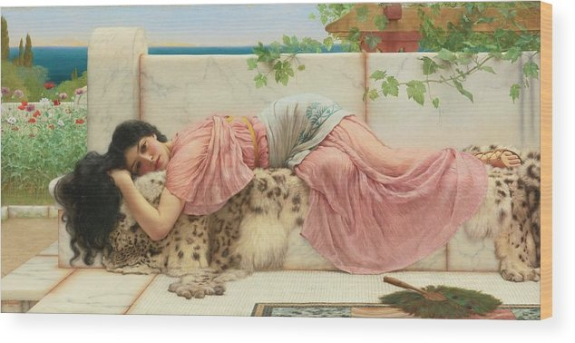 John William Godward (english Wood Print featuring the painting When The Heart Is Young by John William