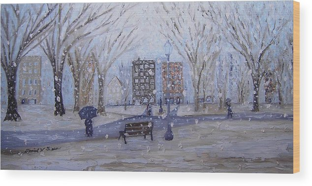 Snow Wood Print featuring the painting A Snowy Afternoon In The Park by Daniel W Green