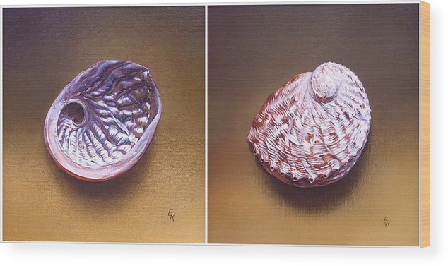 Shell Wood Print featuring the painting Abalone Shell by Elena Kolotusha