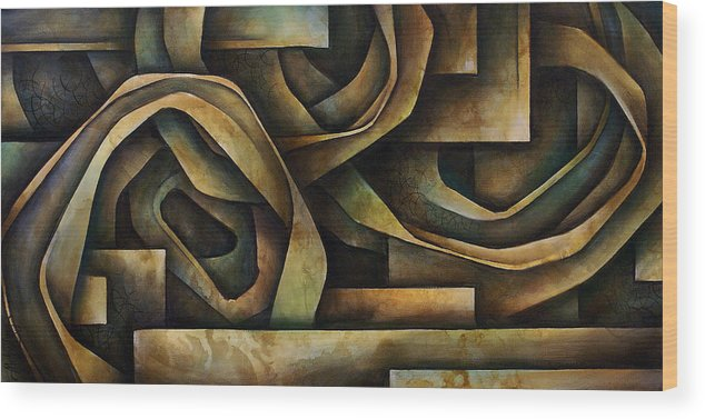 Abstract Art Wood Print featuring the painting Abstract Design 10 by Michael Lang