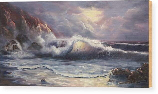 Ocean Wood Print featuring the painting After The Storm by Joni McPherson