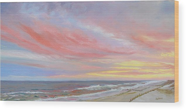 Seascape Wood Print featuring the painting Alberta's Sunset by Lea Novak
