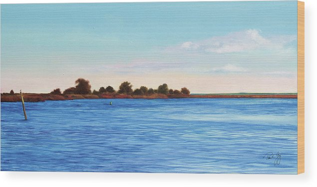 Gulf Of Mexico Wood Print featuring the painting Apalachicola Bay Autumn Morning by Paul Gaj