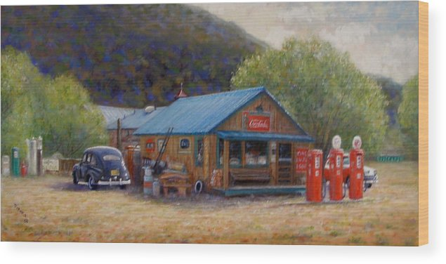 Realism Wood Print featuring the painting Below Taos 2 by Donelli DiMaria