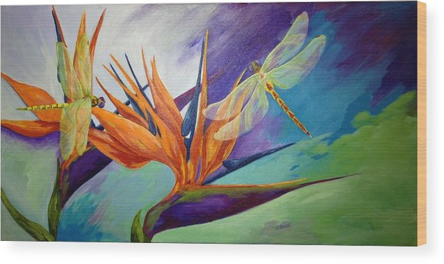 Bird Of Paradise Wood Print featuring the painting Birds In Paradise by Karen Dukes