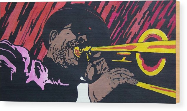 Jazz Wood Print featuring the painting Bone Daddy by Shane Hurd