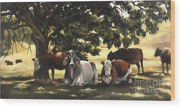 Cows In Pasture Wood Print featuring the painting Brahma's Mamas by Suzanne Schaefer