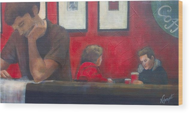 Coffe Shop Wood Print featuring the painting Catching Up by Victoria Heryet