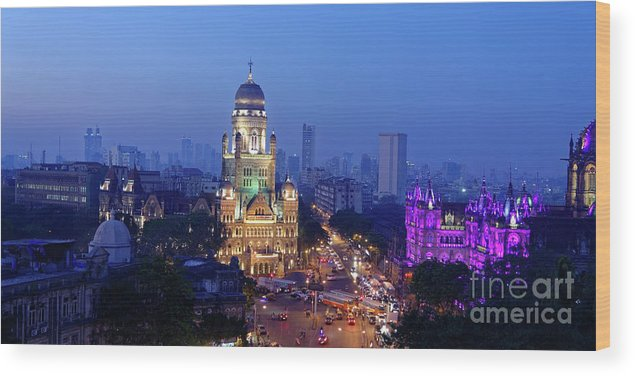 Architectural Wood Print featuring the photograph Chhatrapati Shivaji Terminus V.t. And Municipality Head Office In Mumbai. by Milind Ketkar