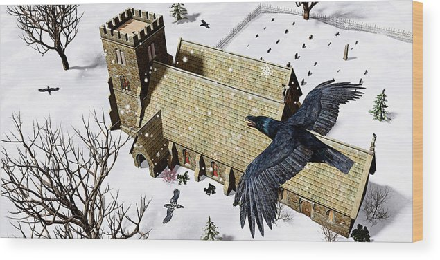 Ravens Wood Print featuring the digital art Church Ravens by Peter J Sucy