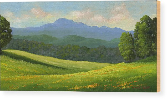 Landscape Wood Print featuring the painting Dandelion Meadows by Frank Wilson