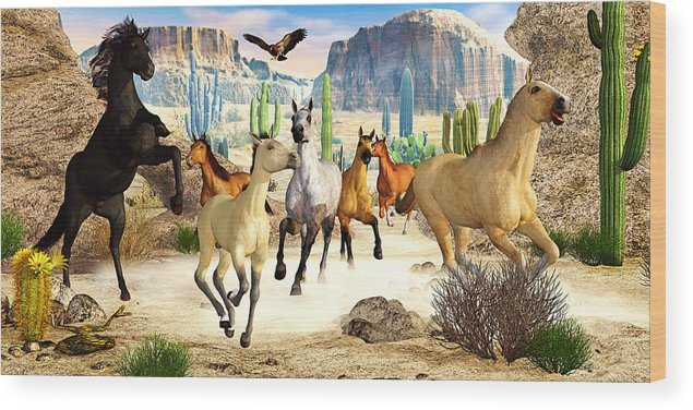 Horses Wood Print featuring the photograph Desert Horses by Peter J Sucy