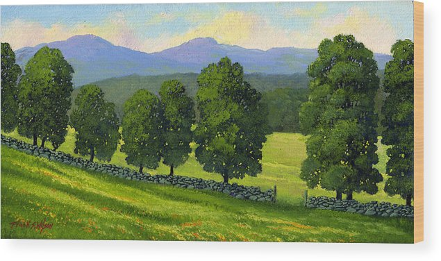 Landscape Wood Print featuring the painting Distant Mountains by Frank Wilson