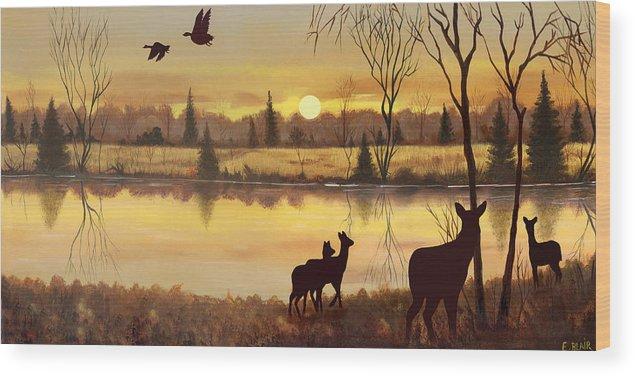 Deer Wildlife Sunrise Water Woods Scenery Landscape Wood Print featuring the painting Early Morning Alert1 by Eileen Blair