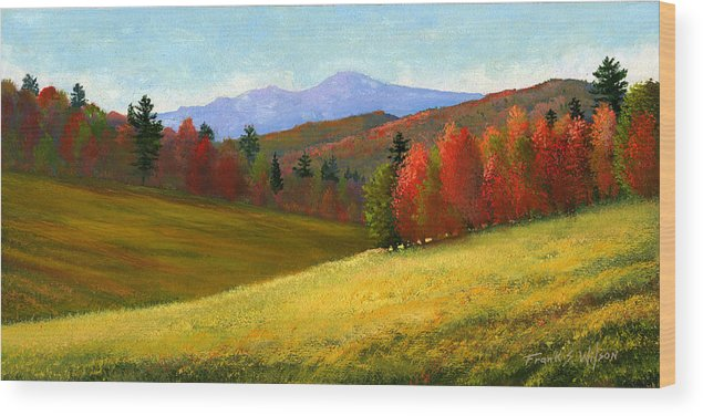 Landscape Wood Print featuring the painting Early October by Frank Wilson