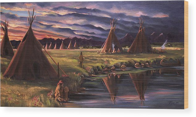 Native American Wood Print featuring the painting Encampment At Dusk by Nancy Griswold