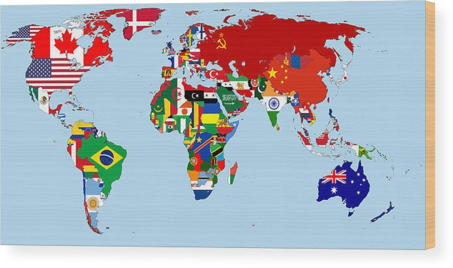 Flag Map Of The World 1965 Wood Print