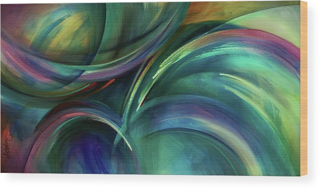 Abstract Design Wood Print featuring the painting Flight by Michael Lang