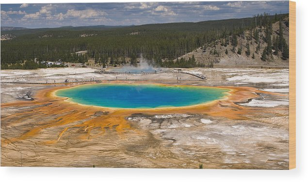 Grand Prismatic Spring Wood Print featuring the photograph Grand Prismatic Spring by Chad Davis