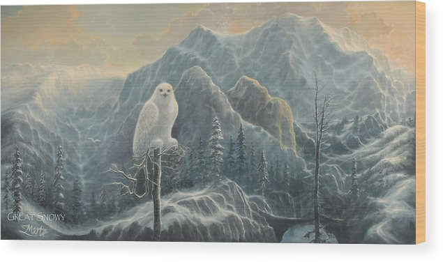 Great White Snowy Owl Wood Print featuring the painting Great Snowy by Marte Thompson