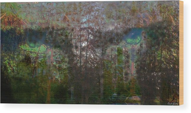 Tree Wood Print featuring the digital art Green Eyes' Reflections by Carole Guillen