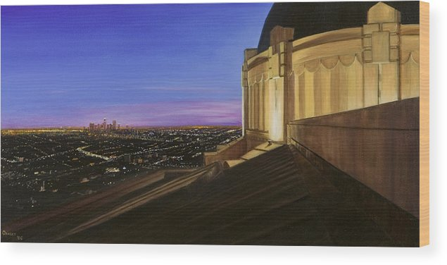 Griffith Park Observatory Wood Print featuring the painting Griffith Park Observatory by Christopher Oakley