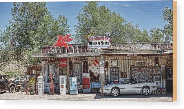 Hackberry General Store Wood Print featuring the photograph Hackberry General Store On Route 66, Arizona by Tatiana Travelways