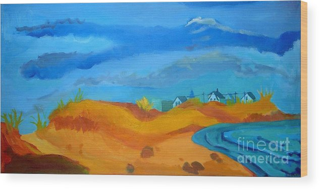 Ocean Wood Print featuring the painting Hampton Dunes by Debra Bretton Robinson
