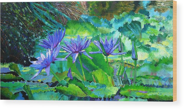 Purple Water Lilies Wood Print featuring the painting Harmony Of Purple And Green by John Lautermilch