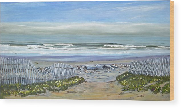 Seascape Wood Print featuring the painting Haskells Beach Morning by Jeffrey Campbell