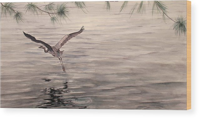 Heron Wood Print featuring the painting Heron In Flight by Debbie Homewood