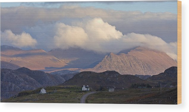 Scotland Wood Print featuring the photograph Highland Crofts In The Scottish Mountains by John McKinlay