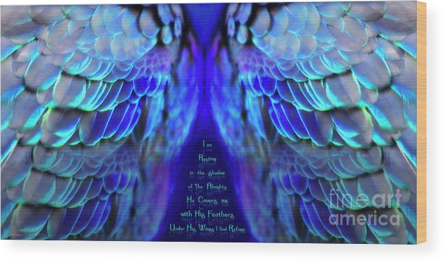 Wings Wood Print featuring the mixed media Beneath His Wings 2 by Constance Woods
