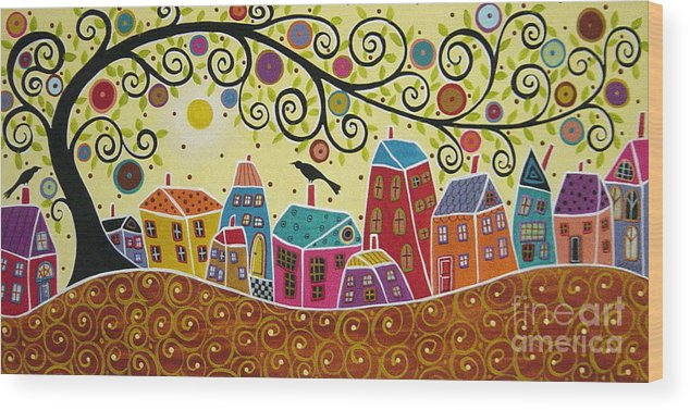 Landscape Wood Print featuring the painting Houses Birds And A Tree by Karla Gerard