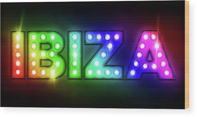 Ibiza Wood Print featuring the digital art Ibiza In Lights by Michael Tompsett