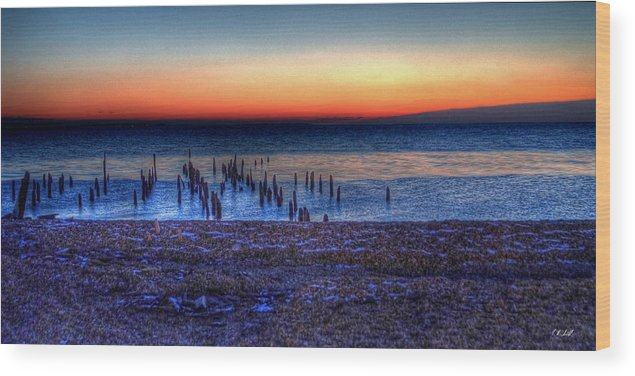 Hdr Wood Print featuring the photograph Icy Dawn by E R Smith