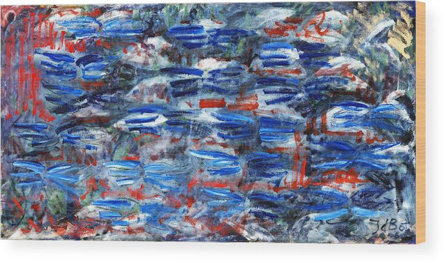 Abstract Blue Red White Speed Rectangular Wood Print featuring the painting Inside Out by Joan De Bot