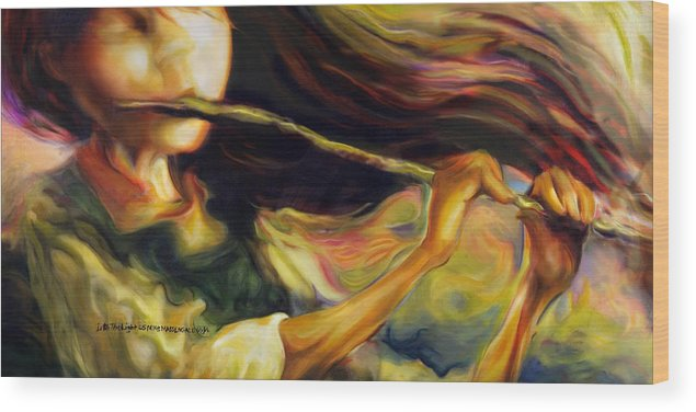 Girl Wood Print featuring the painting Into The Light by Mike Massengale