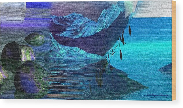 Blue Wood Print featuring the painting Islands Collage by Wayne Bonney