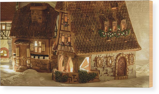 white wood print featuring the photograph it is christmas ceramic houses by nicola simeoni