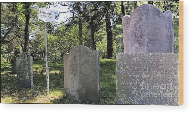 Collage Wood Print featuring the photograph John And Priscilla Alden Gravesite by Janice Drew