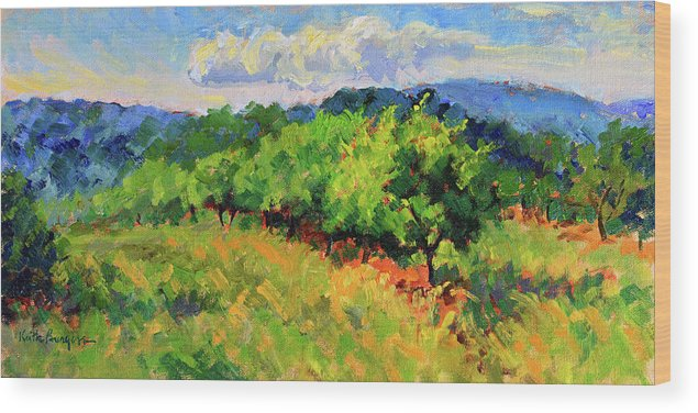 Impressionism Wood Print featuring the painting June Orchard by Keith Burgess